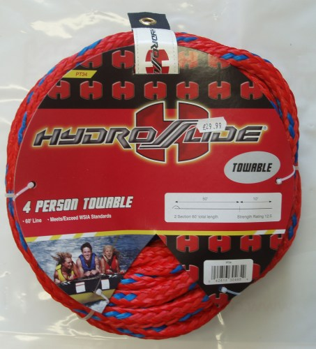 Hydroslide 4 Person Tow Rope 60' line in two sections